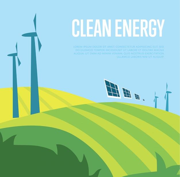 Illustrazione di energia pulita. generazione di energia eolica