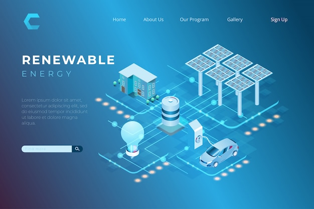 Illustrazione di energia rinnovabile che utilizza energia solare per i fabbisogni di elettricità e di combustibile nello stile isometrico 3d