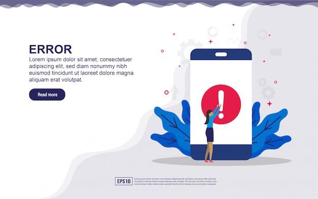 Illustrazione di errore dell'applicazione ed errore di sistema con persone minuscole. illustrazione per landing page, contenuti sui social media, pubblicità.