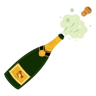 Illustrazione di esplosione della bottiglia di champagne su fondo bianco