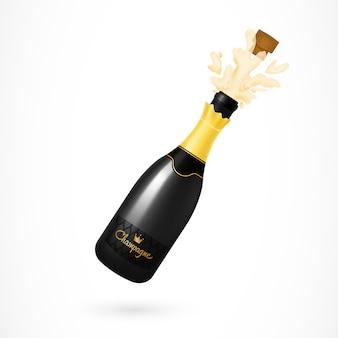 Illustrazione di esplosione di bottiglia di champagne
