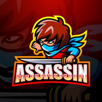 Illustrazione di esport mascotte assassino