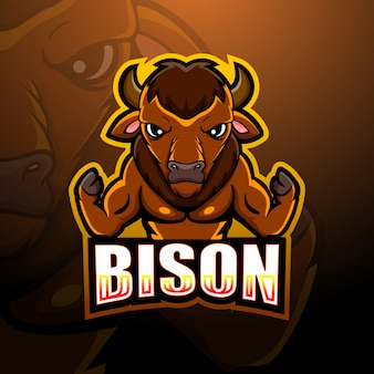 Illustrazione di esportazione forte mascotte bisonte