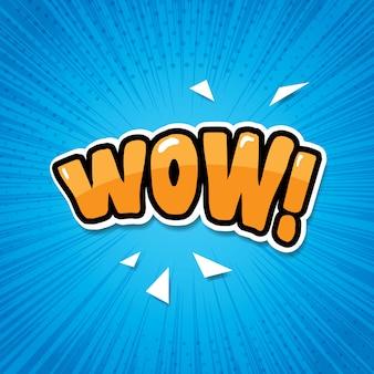 Illustrazione di espressione dell'etichetta di wow del fumetto
