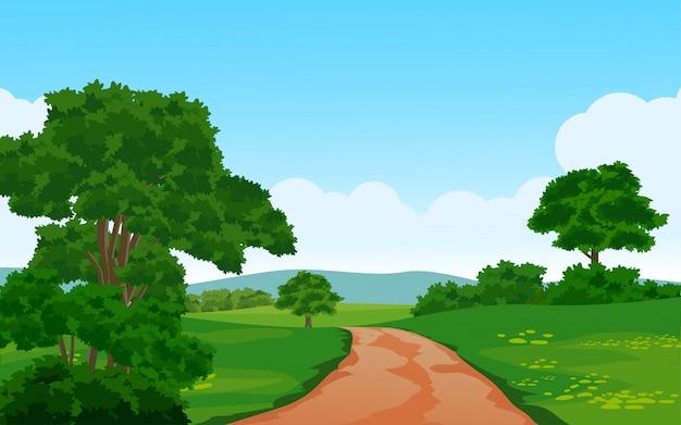 Illustrazione di estate con il percorso nella foresta