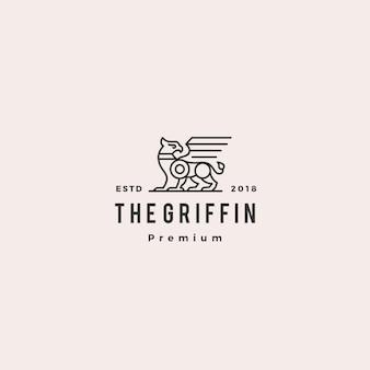 Illustrazione di etichetta retrò hipster vintage di griffin logo