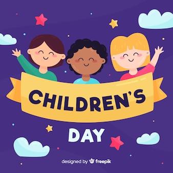 Illustrazione di evento del giorno dei bambini con progettazione piana