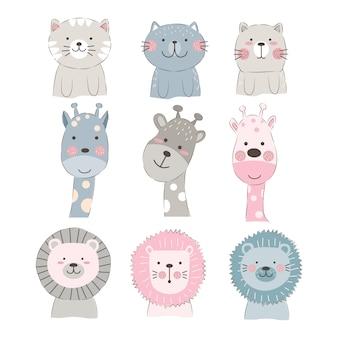 Illustrazione di facce di animali carino