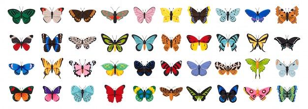 Illustrazione di farfalla su sfondo bianco. insetto decorativo dell'icona stabilita isolata del fumetto. icona del fumetto imposta farfalla.