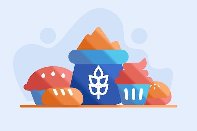 Illustrazione di farina e pane