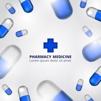 Illustrazione di farmacia pillole con modello di testo