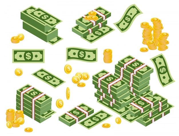 Illustrazione di fasci di dollari sparsi, accatastati con lati diversi isolati su sfondo bianco. dollari di banconote con monete in stile piano.