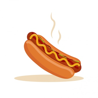 Illustrazione di fast food di vettore. hot dog