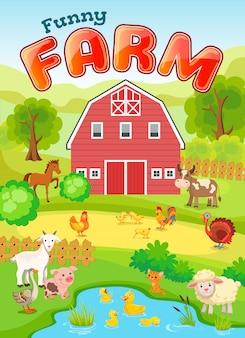 Illustrazione di fattoria con animali.
