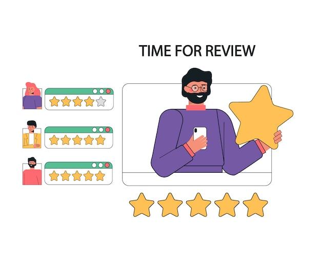 Illustrazione di feedback dei clienti, recensioni e supporto.