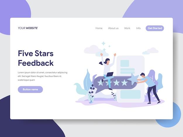 Illustrazione di feedback di cinque stelle per le pagine web