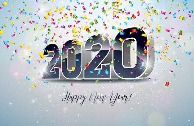 Illustrazione di felice anno nuovo con numero 3d e coriandoli che cadono
