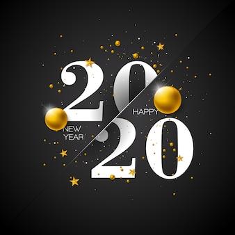 Illustrazione di felice anno nuovo con numero di tipografia