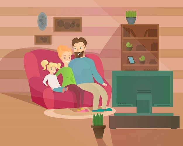 Illustrazione di felice serata familiare. madre, padre e figlio a guardare la televisione seduti sul divano di casa, interni accoglienti in stile cartone animato.