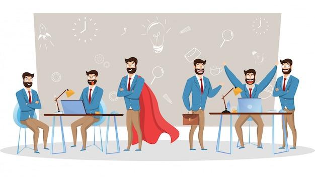 Illustrazione di felici uomini d'affari in diverse pose