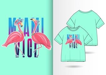 Illustrazione di fenicottero carino disegnato a mano con design t-shirt