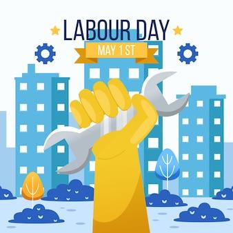Illustrazione di festa del lavoro con la mano dell'operaio
