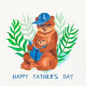 Illustrazione di festa del papà dell'acquerello con gli orsi