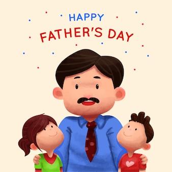 Illustrazione di festa del papà dell'acquerello