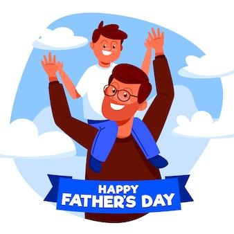 Illustrazione di festa del papà design piatto con bambino