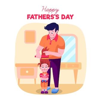 Illustrazione di festa del papà design piatto con il figlio