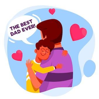 Illustrazione di festa del papà design piatto con ragazzo