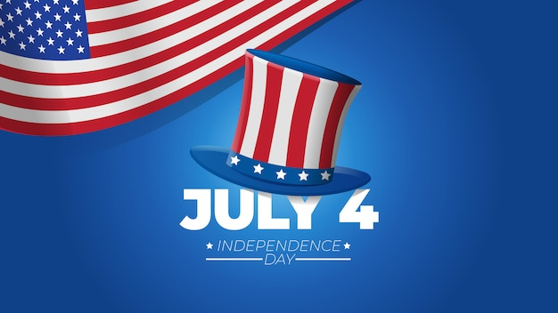 Illustrazione di festa dell'indipendenza del 4 luglio con il cappello di zio sam su fondo blu e sul concetto della bandiera degli stati uniti