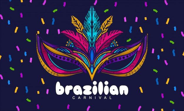 Illustrazione di festival del brasile della maschera tradizionale del disegno della mano