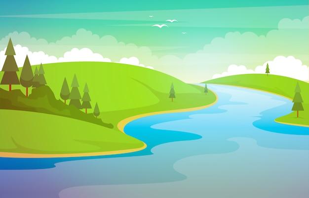 Illustrazione di forest beautiful rural nature landscape illustration della montagna del fiume di bobina