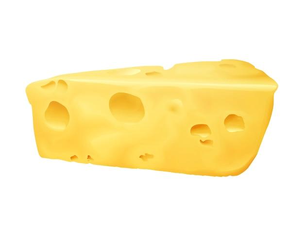 Illustrazione di formaggio 3d. emmental o formaggio cheddar ed edam a forma di triangolo con fori