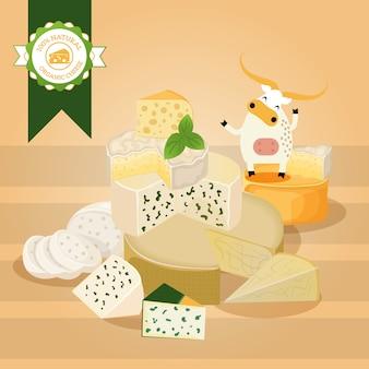 Illustrazione di formaggio vari tipi di formaggi diversi, gustosi prodotti caseari naturali, deliziosi formaggi blu. copertina di poster, brochure o libretto di negozio di alimenti biologici