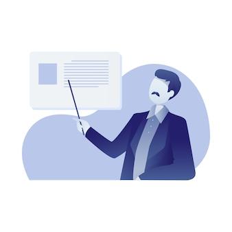 Illustrazione di formazione con un insegnante maschio teaching at school