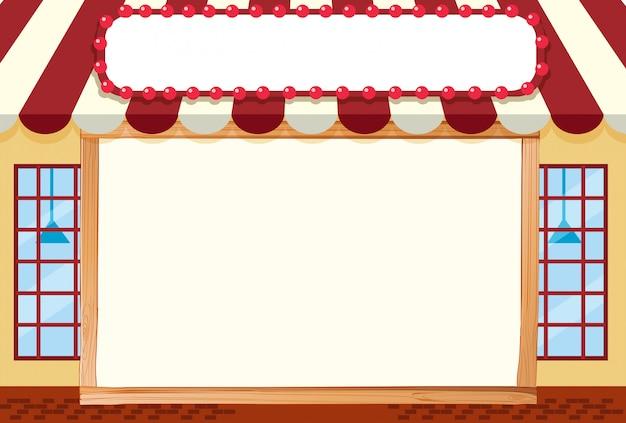 Illustrazione di front store con cornice vuota per copyspace