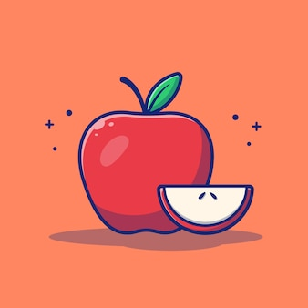 Illustrazione di frutta mela. mela e fette di mela.