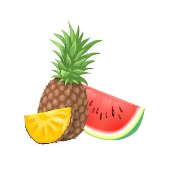 Illustrazione di frutti estivi. ananas e anguria