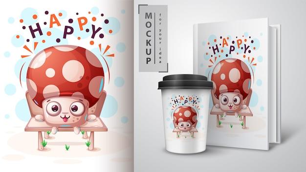 Illustrazione di funghi carino