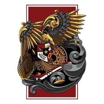 Illustrazione di garuda indonesia, tatuaggio e design tshirt