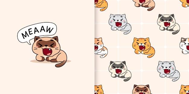 Illustrazione di gatti di sbadiglio disegnata a mano e modello senza cuciture