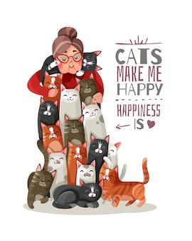 Illustrazione di gatti di signora