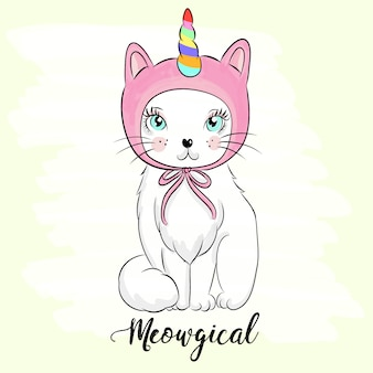Illustrazione di gattino carino disegnato a mano