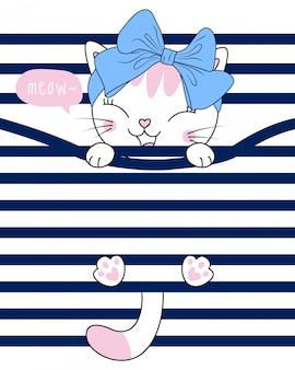 Illustrazione di gatto carino disegnato a mano