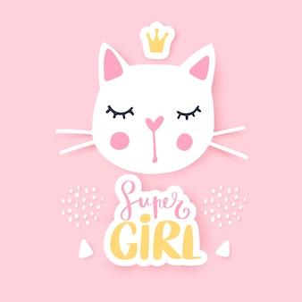 Illustrazione di gatto carino gattini girly. la faccia di cat fashion.