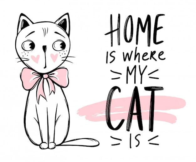 Illustrazione di gatto carino. gattino alla moda disegnato a mano.