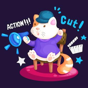 Illustrazione di gatto carino seduto sulla sedia da regista e fare un film