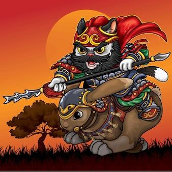 Illustrazione di gatto di cavalleria